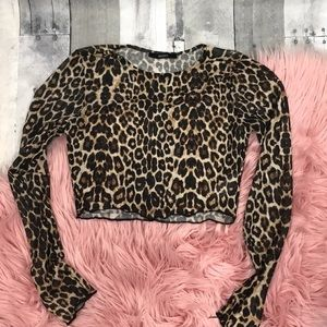 Forever 21 sheer leopard long sleeve crop top, S